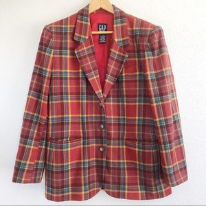 Vintage 90s Gap Wool Blend Plaid Blazer Jacket L